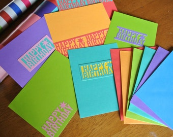 Rainbow of Birthday Postcards Set of 6
