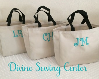 Monogrammed Tote Bags. Personalized Bridesmaid Gifts. Monogram Totes. Curlz Font. Teal Thread