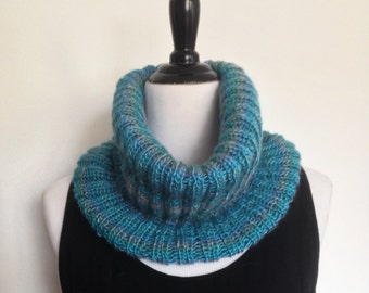 Women's Soft Knitted Cowl in Shades of Blue