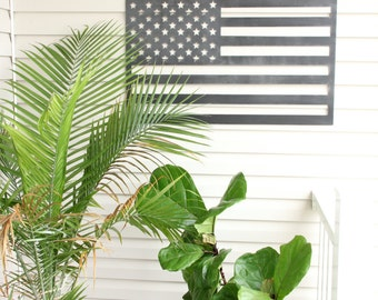 SALE Rustic Metal American Flag Wall Art |  United States patriotic rustic decor USA gift