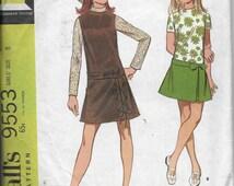 Vintage Pattern blouse,Jumper,Dress Long Torso,Set In Sleeves,Back Zipper, CUT-McCalls 9553  Dated 1968 Girls size 8*