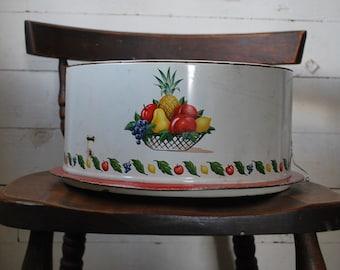 Vintage farmhouse kitchen metal cake carrier fruit bowl shabby cottage chic