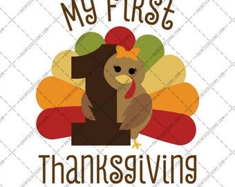 My First Thanksgiving  - SVG Vector DXF EPS Digital Cut File Silhouette Cricut Turkey Cute Girly Fall Autumn 1st Arrows Birthday Bow
