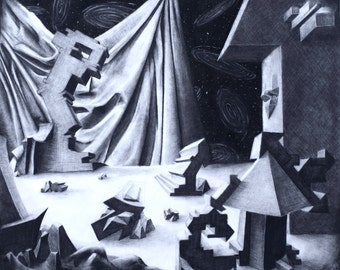 Original Charcoal Dreamscape, Surreal Landscape with Drapery and Perspective