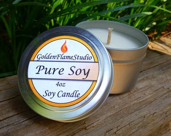 Pure Soy - Unscented Eco-Friendly Soy Candle 4 oz Tin