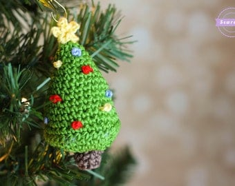 Crochet Christmas Tree Ornament Pattern pdf instant digital download holiday gift