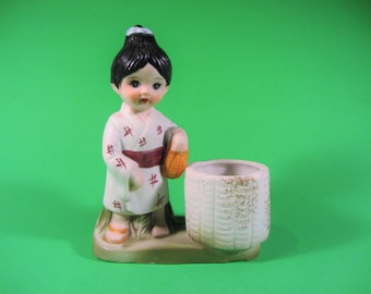Vintage Royal Crown Japanese Girl with Kimono and Sandals Ceramic Candle / Toothpick Holder Taiwan