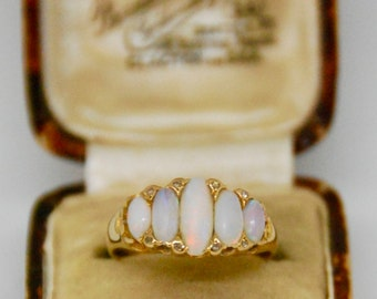 Victorian 18t Yellow Gold Diamond & Opal Ring