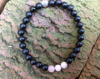 matte and polished black onyx bracelet, w/beryl pink morganite and artisan-made sterling silver, organic pebble shaped bead