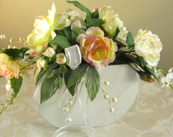 Rose Wedding Centerpiece, Pink and Cream Roses Orchids Peony Pearl Berries Bridal Floral Arrangement, Silk Rose Floral Tabletop Arrangement