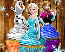 PRINTABLE Frozen Cupcake Toppers, Elsa cupcake toppers, let it go, birthday decorations / Printable Frozen Cupcake toppers / Downloadable fr