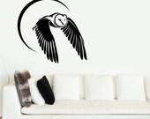 Owl Flying By Moon Light Wall Sticker - Art Vinyl Decal Transfer - by Rubybloom Designs