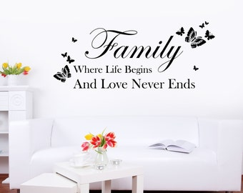 Family - Where Life Begins and Love Never Ends - Butterfly Quote Words Wall Sticker, Art Vinyl Decal Transfer - by Rubybloom Designs
