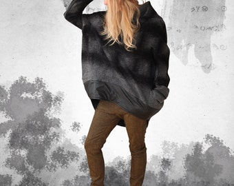 Unique - round walk Loden oversize Hoodie in the Materiallmix