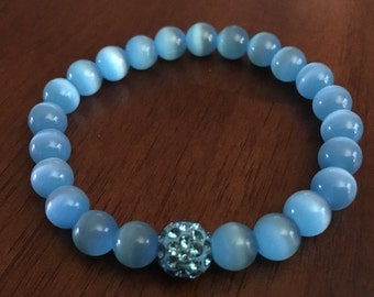 Blue Cats Eye Beaded Bracelet