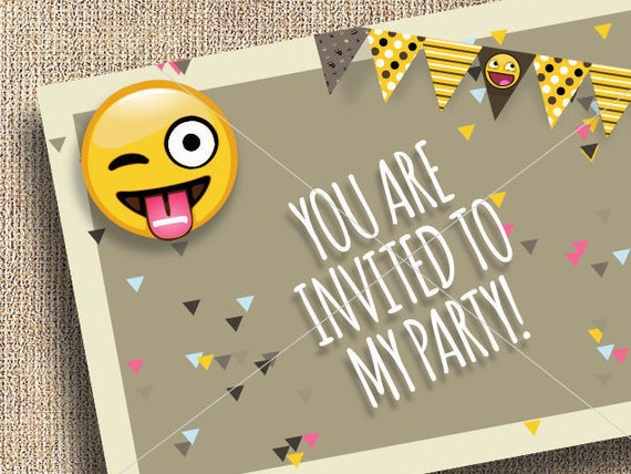 80 off sale emoji party invitation thank you  blank cards