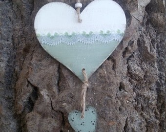 Country decor wooden hearts to hang, handpainted. White and green provence, with decorative lace. Cottage chic, french country. OOAK