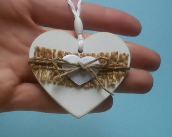 Wooden heart to hang with decorative jute strip, jute string and cloth heart. Country chic, rustic wedding decor. Bouquet Charm