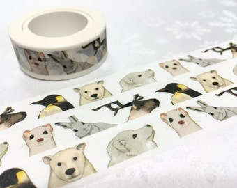 winter Animal washi tape 10M polar bear penguin Rabbit elk snow dog washi tape kawaii masking tape animal sticker tape scrapbook decor