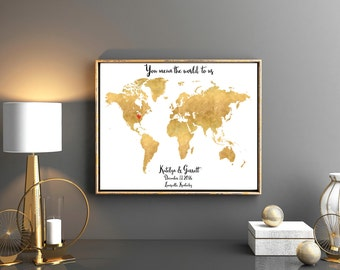 Wedding guestbook map You mean the world to usGold guest book guest book guestbook custom guestbook guest book unique guestbook keepsake