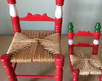 Set of Miniature Italian Cafe Chairs. Doll Chairs.