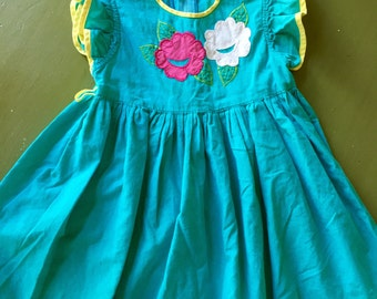 Vintage Korean (?) Dress Blue with Flowers for toddler