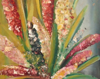 Vintage Impressionist still Life with flowers oil painting