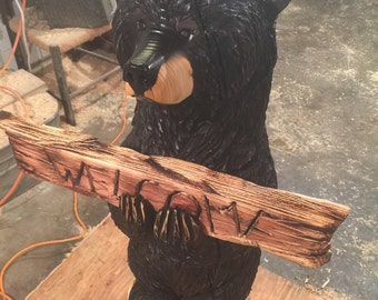 Black Bear Welcome Chainsaw Carving Free Shipping