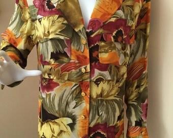 Vintage 1980s Paulo Santini Silk Milti-Color Flower Blouse Retro Blouse Size 8
