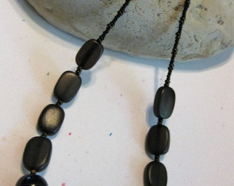 Matte black rectangles with black agate like glass bead necklace