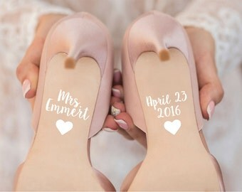 Wedding Date and Name Shoe Decals for Wedding Day