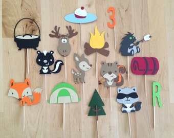 Woodland Cupcake Toppers/Woodlands/First Birthday/Boy Birthday/Woodlands Birthday/Woodland/Baby Shower/Boy Baby Shower