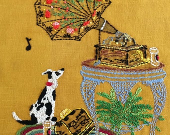 Dog and Gramaphone Completed Embroidery Kit