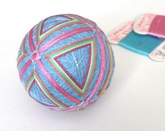 Blue Temari Handmade Japanese Ball Decor Gift