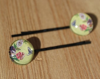 Yellow Floral Hair grip - vintage style bobby pins, kirby grip, personalised gift for her, floral hair grip, butterfly hair, birthday gift