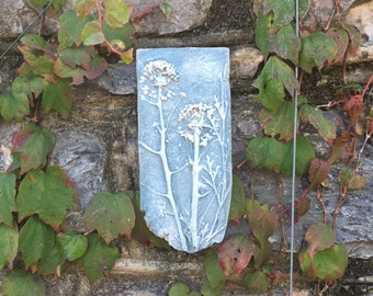Rustic clay wall hanging, art, plaque, imprint of ivy seed heads, blue and white.