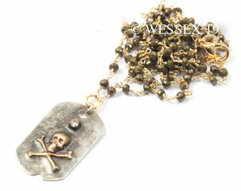 Skull & Crossbones Necklace | Pirate Necklace | Pyrite Necklace | Skull Necklace | Bohemian Necklace | Boho Necklace | Skull Charm Necklace