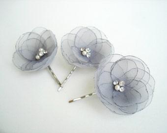 Gray Wedding  Flower Bridal Hair Clips, Grey Wedding Hair Accessory, Crystal Pearl Flower Hair Pins, Bridal Head Piece, Wedding Hair Pieces