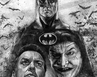 Batman (Burton/Keaton) tribute illustration A3 print