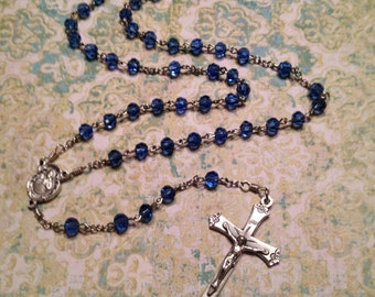 6mm Sapphire Glass Handmade Rosary