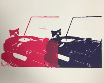 Record Player Cat