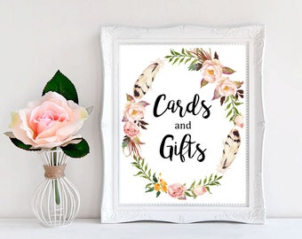 Floral Wreath Cards & Gifts Sign, Floral Boho Wedding Sign, Feathers Boho Sign, Wedding Gift Table Sign, Printable, Instant Download 112-W