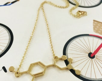 Adrenaline Molecule Science Chemistry Gold Necklace
