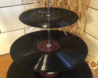 Vintage Record Vinyl 3 Tier Cake Stand
