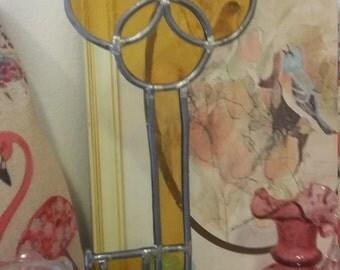 Handmade stained glass yellow key