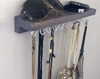 Distressed Wall Necklace Organizer