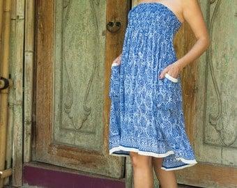 Edi Skirt-Dress, Skirt Dress Combo, Versatile Skirt, Boho Skirt, Blue Skirt, 104-114