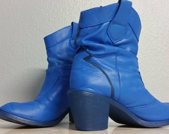 coraline blue ankle cowboy cosplay boots size 7