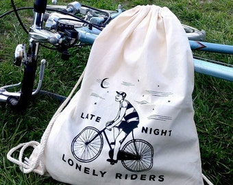 Late night lonely riders - Canvas cinch backpack