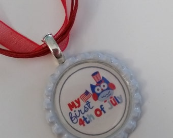 4th of July Patriotic Pendant Necklace, accessories, jewelry, gift for her, country girl, gift for girls, children's jewelry, kids necklace